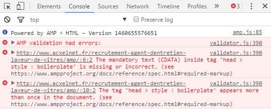 Erreur AMP site WordPress